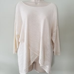 Moth Cream Quarter Sleeve Wrap Sweater Size Large